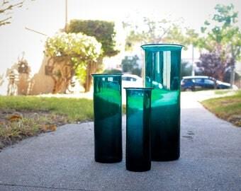 Flawless trio of Per Lutken Vases for Holmegaard in deep green...