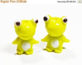 20% OFF LOOSE Lampwork Glass Beads - Bright Lemon Yellow Frogs (2 beads) - gla1032