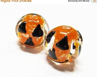 20% OFF LOOSE BEADS - Lampwork Glass Art Beads - Glow In the Dark Black, Orange, and Clear Round Halloween Jack-O-Lantern's (2 beads) - gla8
