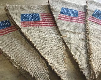 USA Flag Banner - The Stars and Stripes Flag Banner - Burlap Banner - The Star-Spangled Banner - Party Banner, Wedding Banner!