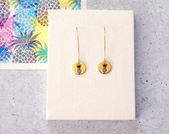 Gold Pineapple Drop Earrings