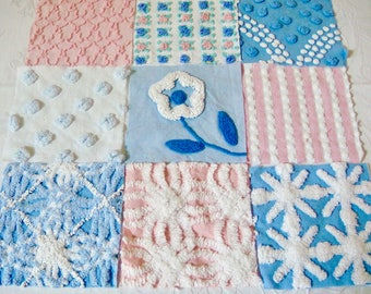 Pink and Blue Vintage Cotton Chenille Fabric Patchwork Pillow Kit for 15 or 16-inch Pillow