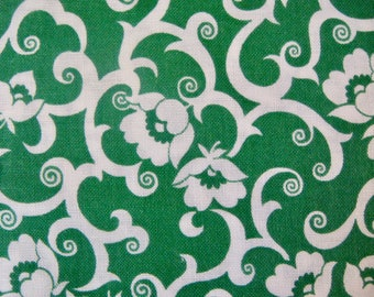 Green Floral Vintage Cotton Quilting Fabric, 1 Yard