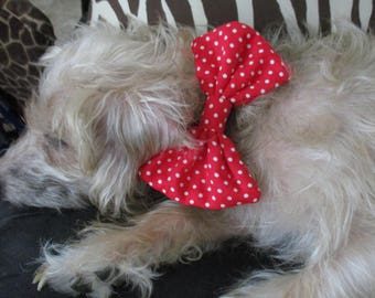 Dog Bow Tie, Pet Accessories, Red and White Polka Dots, Doggy Bow Ties, Fur Baby Bow Tie #1