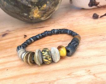 Bohemian tribal bracelet with artisanal lampworks: Savannah Perfumes