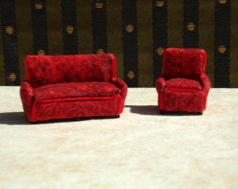 1:48 scale Miniature Dollhouse Upholstered Living Room Sofa and Chair Red Room Furniture