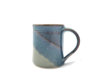 16 oz. Handmade ceramic mug , Slate gray and Twilight blue combo glaze