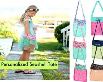 Personalized Kids Seashell Bag for collecting seashells, Mesh beach bag