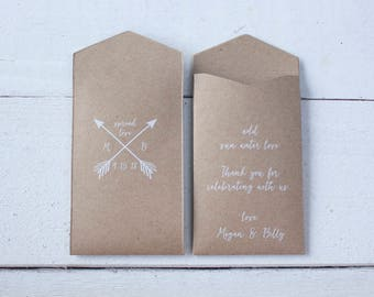 Arrows Custom Seed Packet Wedding Favor – Let Love Grow Favor – Custom Seed Packet – Seed Envelope Wedding Favors – Many Colors Available