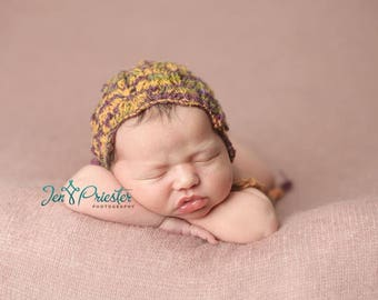 Silk Bonnet Newborn Girl Photo Prop Baby Shower Gift Hand Knit Hat Going Home Cap Knitted Lace Coming Photography Infant Outfit Mustard Purp