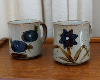 Vintage Stoneware Mugs Floral Speckled Gray Blue Flowers Glazed  1970s Set of Two