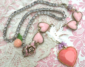 romantic necklace assemblage pink heart rose summer romance bird recycled vintage jewelry mother of pearl cottage chic