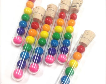 FREE U.S. SHIPPING - Clear Test Tubes and Corks - Candy Favor - Wedding - Party