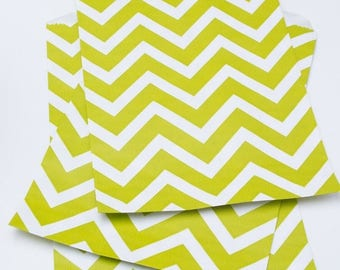 25% Off Summer Sale Set of 25 - Muted Lime Chevron Flat Paper Merchandise Bags - 6.25 x 9.25 Inches - Gifts, Packaging, Retail