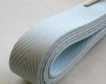 25% Off Summer Sale Chevron Twill Herringbone Ribbon - Baby Blue and White 3/4 Inch Width - Packaging and Gift Ribbon