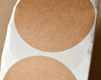 25% Off Summer Sale Blank Labels or Stickers - set of 50 - Brown Kraft Paper - 3.5 Inch Round