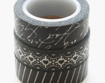 25% Off Summer Sale Washi Tape Set - 15mm - Combination CE - Black and White Patterns - Three Rolls Washi Tape no. 291/322/157