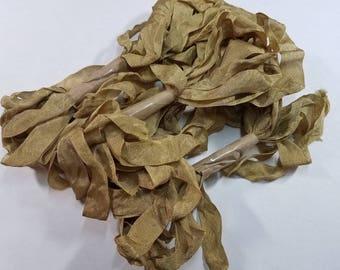 Gold Leaf Shabby RIBBON crinkled vintage seam binding