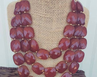 FREE EARRINGS Wine Burgundy Triple Strand Chunky Statement Bib Necklace...Purchase 3 or more get 10% off