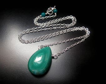 Malachite Necklace, Genuine Malachite Teardrop Stone, Sterling Silver Natural Malachite Pendant, Malachite Jewelry, Malachite Pendant
