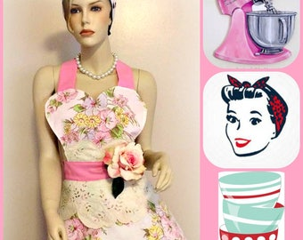 Retro  kitschy, soft, feminine , floral woman's apron with detachable flower pin