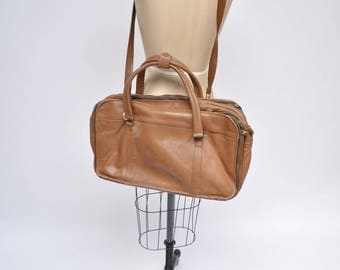 vintage leather duffle bag duffel vintage 1980s leather CARRY-ON tote shoulder luggage bag overnight DUFFLE