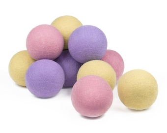 Baby-Safe Natural Wool Dryer Balls - 12 Balls, Pink, Lavender, Yellow, 100% Wool, Natural Vegetable-Based Dyes, Chemical-Free
