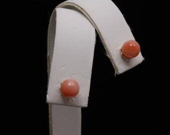 6mm Pink Coral Stud Earrings