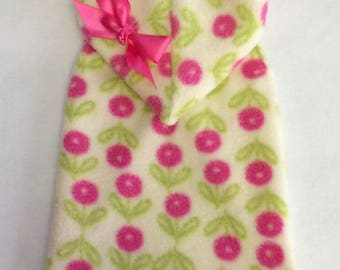 Brand New! Pink Floral Fleece Sleeveless Hoodie Dog Clothes Size XXXS through Large by Doogie Couture