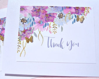 Floral Note Cards - Floral Thank You Cards - Butterfly Thank You Cards - Thank You Card Set - Gold Glitter Thank You Cards - gbfty