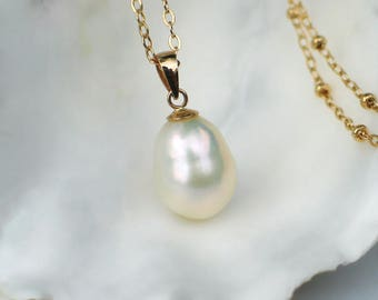 14k Pearl Pendant | Ivory Gourd Drop Freshwater Pearl | 14k Gold Filled Beaded Chain Necklace | Birthday | Everyday | Gift | Ready to Ship