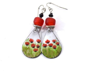 Poppy Fields Handmade Earrings, Enameled Earrings, Antique Silver Earrings, Teardrop Earrings, Artisan Earrings, Red and Black, OOAK, AE071