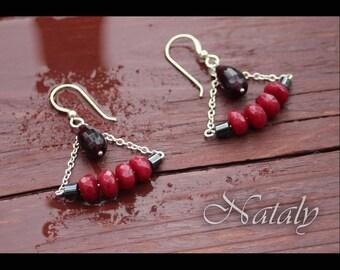 Garnet Earrings, Triangle Earrings, Bar Earrings, Red Earrings for Women, Minimal Earrings, Chain Earrings, Ruby Earrings, Dangle Earrings