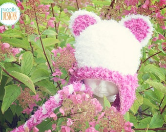 White Kitty Cat Hat With Pink Ears READY to SHIP for Preschool Size