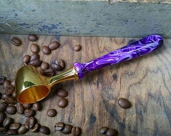 Coffee Scoop with Hand Turned Purple Acrylic Handle - Loose-Leaf Tea Scoop - Gift for Christmas, Birthday, Weddings, Housewarming