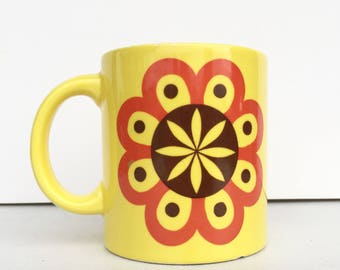 Vintage Waechtersbach mug Yellow Orange and Brown Retro Hippie Flowers Fall Autumn Harvest Kitch Kitchen Decor
