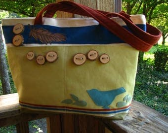 "Bird Tote, 11"" by 11"" by 5"" with 15"" Zipper Opening, Canvas Tote, Eco-friendly Tote, Vegan Bag, 5 Large pockets, Ultra Suede Handles"