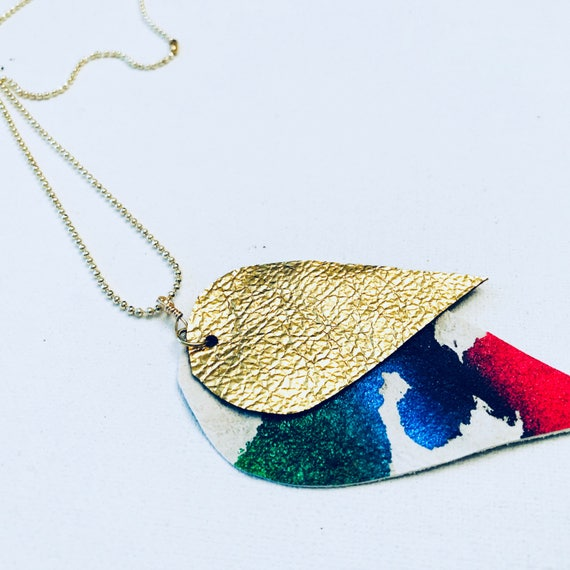 Painted & Foiled Leather Pendant Necklace