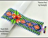 Peyote - Passion Posy - BP-PEY-173-2017-123 - Peyote Pattern, Master Class Various stitches, beadweaving pattern, bracelet pattern