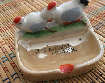 Saucy Ceramic Tray:  Vintage Rooster Chasing the Hen, Japanese Lustreware, R