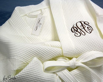 Monogram Robe, Monogram Bathrobe, Personalized Robe, Cotton Anniversary Gift for her, Second Anniversay, Waffle Robe, jfyBride, 1707 MC