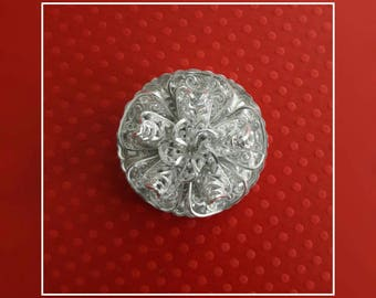 Vintage Mid Century Silver Metal Filigree Flower Dress Clip- Made in Western Germany