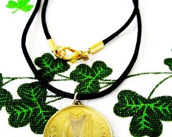 1994 GOLDEN IRISH 20 Pence Irish Birth Year Coin Necklace-Ireland Jewelry