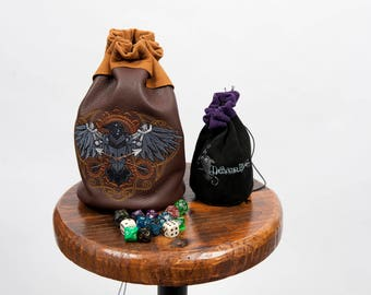Large leather dice bag rpg gamer mechanical raven embroidery larp pouch tabletop dungeons dragon geek nerd gift costume accessory pathfinder