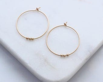 Small Beaded Gold Hoop earrings - versatile and minimal gold jewelry