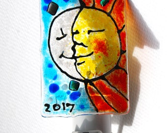 Eclipse Night light, Glass Moon and Sun, Fused Glass Night light, Glass moon and sun, Wall Light, Childs room decor, Moon and Sun Face,