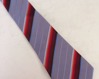 Vintage Men's Blue Gray Striped Necktie
