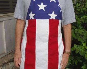 Real U.S. Flag BBQ Apron / Mens Patriotic Cotton Barbecue Apron