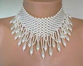 Pearl Choker, Bridal Statement Necklace, Pearl Necklace, Great Gatsby, Vintage, Roaring 20s, 1920s, Beaded, Fringed Choker, Pearl Drop, Deco