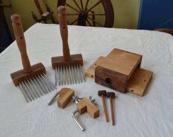 Wool Combs, Standard Kit, with Combination Holder/Combing Pad, Benjamin Green Studio